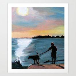 Dog-Walking on the Lake Art Print
