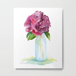 Rose in a Glass Vase Watercolor Metal Print