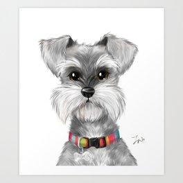 Moustache dog Art Print