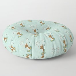 Vintage Inspired Deer with Decorations Floor Pillow