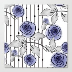 Blue Roses on striped background. Canvas Print