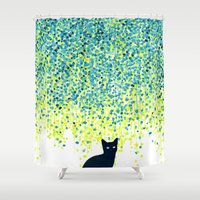 garden Shower Curtains featuring Cat in the garden under willow tree by Picomodi