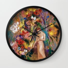 Female figure into red poppy, calla lilies, hibiscus, and flowers portrait painting by Odilon Redon Wall Clock