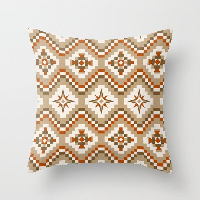 Southwestern Tribal Pattern in Beige, Tan and Burnt Orange Throw Pillow by  fischerfinearts