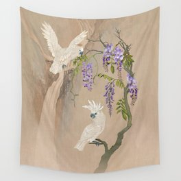 Cockatoos and Wisteria Wall Tapestry