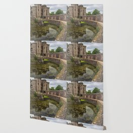 Pathway By The Castle Moat Wallpaper