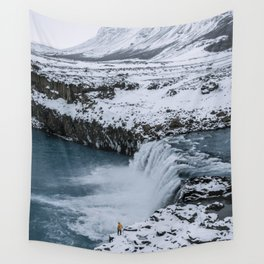 Waterfall in Icelandic highlands during winter with mountain - Landscape Photography Wall Tapestry