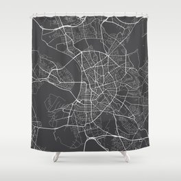Dusseldorf Map, Germany - Gray Shower Curtain
