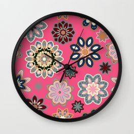 Flower retro pattern in vector. Blue gray flowers on pink background. Wall Clock