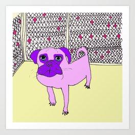 Purple Pug Pal Art Print