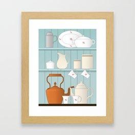 Vintage Kitchen Ilustration Framed Art Print