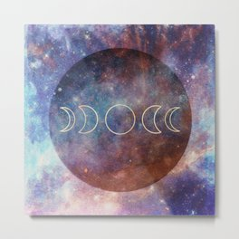 Moon Phases Rose Gold Mandala Metal Print