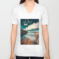 clear V-neck T-shirts featuring Belle Svezia by HappyMelvin