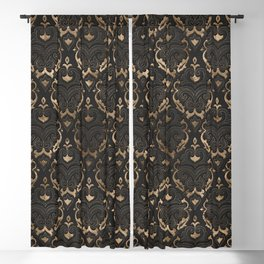 Persian Oriental Pattern - Black Leather and gold Blackout Curtain