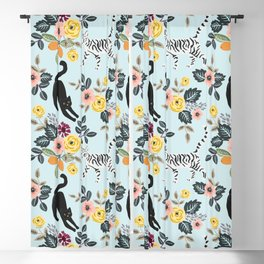 Floral Cats with bouquets Blackout Curtain