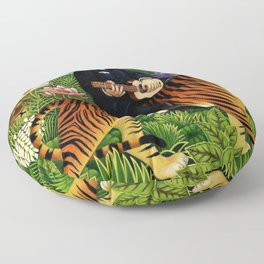 Henri Rousseau Dreaming of Tigers tropical big cat jungle scene by Henri Rousseau Floor Pillow