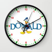 donald duck Wall Clocks featuring Donald Duck by Maxvision