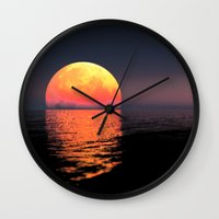 moonrise Wall Clocks featuring Moonrise by Tobias Bowman