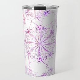 Hand painted pink lilac watercolor floral mandala Travel Mug