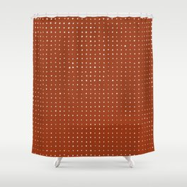 Light grey dots on rust Shower Curtain