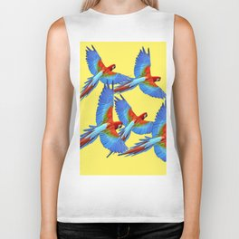 FLOCK OF BLUE MACAWS ON YELLOW Biker Tank