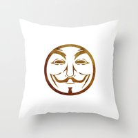 anonymous Throw Pillows featuring Anonymous by Spooky Dooky