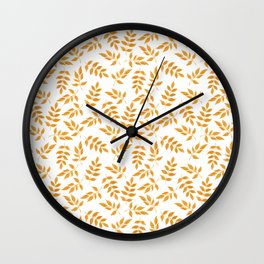 Hand painted orange yellow gold watercolor leaves pattern Wall Clock