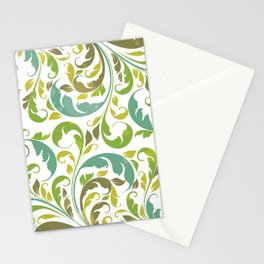 Whimsical Leaf Pattern in Green and White Stationery Cards