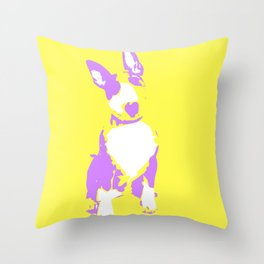Puppy in yellow purple and white art print Throw Pillow