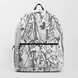 Cloudy Day In The Forest B&W Snowy Rowan Branches With Berries #decor #society6 #homedecor Backpack