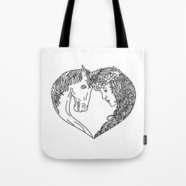 Unicorn and Maiden Heart Drawing Tote Bag