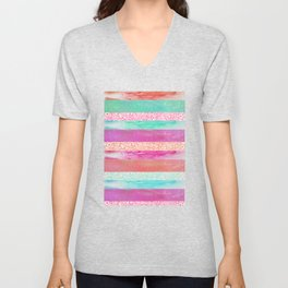 Tropical Stripes - Pink, Aqua And Peach Colorway Unisex V-Neck