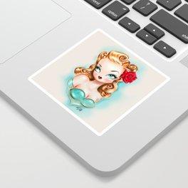 Rockabilly Babydoll Blonde with Red Rose Sticker