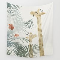 giraffes Wall Tapestries featuring Two Giraffes by J Arell