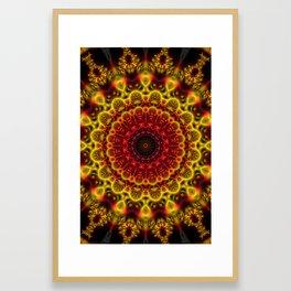 Fiery Fractal Mandala Framed Art Print