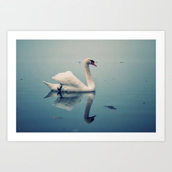 Act II: By a Lake: Scene: The swans swim on the lake Art Print