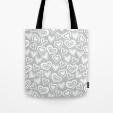 MESSY HEARTS: IVORY GRAY Tote Bag