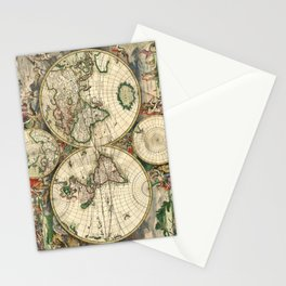 Old map of world (both hemispheres) Stationery Cards