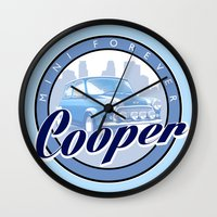 mini cooper Wall Clocks featuring Cooper by Barbo's Art
