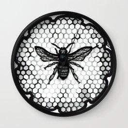 Honey Bee   Black-and-White Symbolic Drawing Artwork Wall Clock