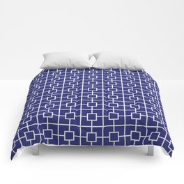 Navy Blue Square Chain Pattern Comforters