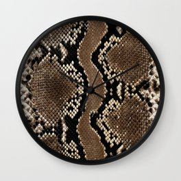 Python Skin Pattern Snake Skin Brown Animal Print Home Decor Wall Clock