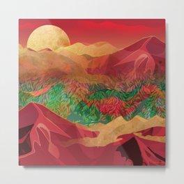 """Tropical golden sunset over fantasy pink forest"" Metal Print"