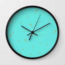 Turquoise Starburst Pattern Wall Clock