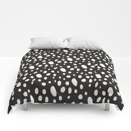 Bohemian Pebbles - Dark gray and cream dot pattern Comforters
