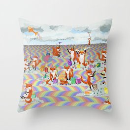 donna's birthday fox party Throw Pillow
