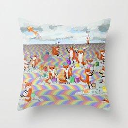 donna's birthday fox party Throw Pillow