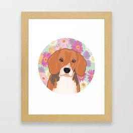 Beagle with floral background, original artwork Framed Art Print