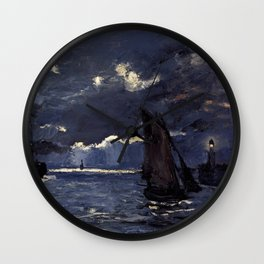 Claude Monet - Seascape Shipping by Night Wall Clock