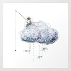 Fishing on a cloud Art Print